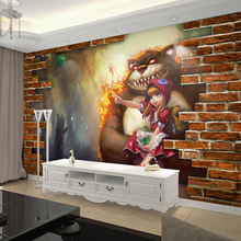 League of legends Wallpaper 3D Game Photo wallpaper Dark Child Annie Brick wallpaper Bedroom Bar Hotel Room decor Cartoon Murals(China)