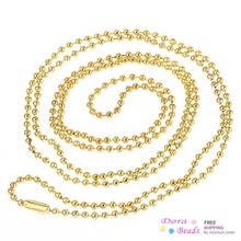 "DoreenBeads Ball Chain Necklaces gold color 80cm(31 4/8"") long,12PCs (B31373)"