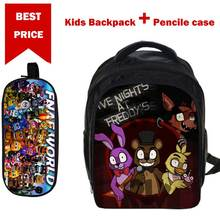 Small 3D Cartoon Five nights at freddy Print School Bags for Boys Girls Children Book Bag with Pencile Case Mochila para ninos(China)