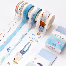 5Style Cute kawaii Blue Girl Ocean Decorative Washi Tape Diy Scrapbooking Masking Paper Tape School Office Supply