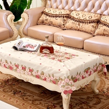 [WIT]130X175cm European Style Polyester Rectangular Table Cloth Embroidered Pink Floral Tablecloth For Wedding Home Table Cover