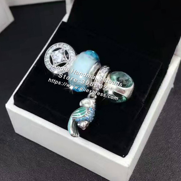 4pcs Fashion S925 Silver Green Enamel Parrot Dangle Charms Beads Jewelry Set Fit Bracelet Necklaces Jewelry Making Woman Gift