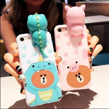 Lovely 3D monster Doll Phone Case Silicone For iPhone6 6s 7 Plus Mobile Phone Protector Back Cover Shell Housing