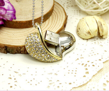 100%  usb flash drive  Crystal heart model USB 2.0 Flash Memory Pen Drive Stick  8GB 16G wedding memorabilia S29 BB
