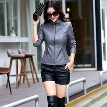 Buy 2018 Spring Autumn Short Leather Motorcycle Jacket Women Casual Leather Coat Stand collar Lady Slim Fashion Leather Jacket for $57.15 in AliExpress store