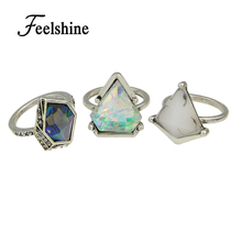 3pcs/set Boho Style Anel Antique Silver Color Geometric Green Blue Natural Stone Finger Rings sets for Women
