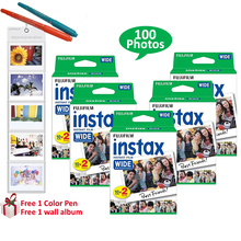 For Fuji Instant Polaroid Photo Camera 300 200 210 100 Fujifilm Instax Wide Film 100 Prints Sheets White Frame+ Free Gifts(Hong Kong)