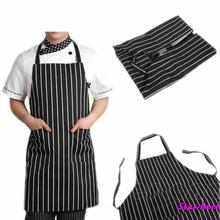 Adjustable Black Stripe Bib Apron with 2 Pockets Chef Waiter Kitchen Cook Tool Free Shipping