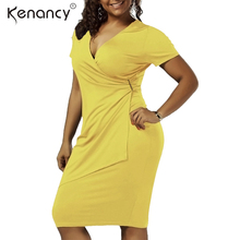 Kenancy Fall 2017 Fashion New Plus Size Overlap Surplice V Neck Sheath Office Dress Women Many Color Solid Work Vestidos Slim(China)