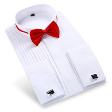 2018 New Popular Men Dress Shirt Wedding Formal Party Long Sleeve White Black Pink With Bow Tie Cufflink Men Tuxedo Shirts(China)