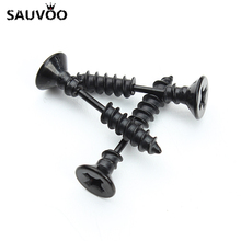 1Pair Punk Fashion Gold Black Color Stainless Nail Screw Stud Earring for Women & Men Helix Ear Piercings Fashion Jewelry F3903(China)