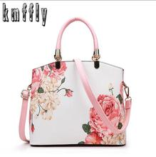 2017 New Printing Flower PU Leather Women Handbags Shoulder Bag For Female Designer Ladies Hand bag Famous Brand Tote Bags