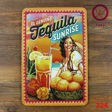 Christmas decorations!!! Tequila sunrise iron plaque painting Art wall decor Garage moive poster 20*30cm