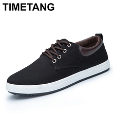 TIMETANG Men Shoes New 2017 Spring Canvas Men Casual Shoes Breathable Round Lace-Up Flats British Style Mens Shoes(China)
