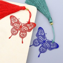 JOUDOO Butterfly Rose Metal Art Chinese Classical Style Bookmark Tassel Stainless Steel Paper Clips(China)