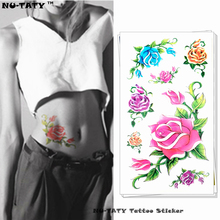 Nu-TATY Blue Pink Yellow Rose Temporary Tattoo Body Art Arm Flash Tattoo Stickers 17*10cm Waterproof Fake Henna Painless Tattoo