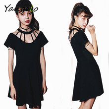 2016 Women Black Casual Punk Rock Hip Hop Dress Women Short Sleeve Gothic Clubwear Dresses Vestidos Femininos