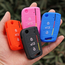 Silicone key fob case cover shell skin for WOLFSBURG Emblem logo for Volkswagen VW Polo 2016 2017 Golf7 Golf 7 MK7 Tiguan Remote
