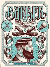 Vintage Hairdresser Tattoos Patterned Posters Kraft paper Interior Painting Restoring Wall Sticker Barber shop Home Decoration E