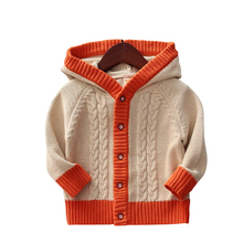 Kids Boys Hooded Knit Cardigan Sweater Children Boys Cable Knit Sweater Coat Spring Autumn Boys Clothing Outwear 2-6Y(China)