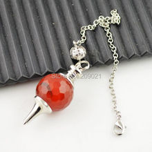 Finding- 8PcsFaceted Red Stone Point Healing Chakra Dowsing Reiki Pendulum Pendant
