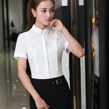 Plus Size Work Women Shirts Solid Slim Hotel Front Desk Half Sleeve Clothing Profession Blouse Shirt White Lavender 81711
