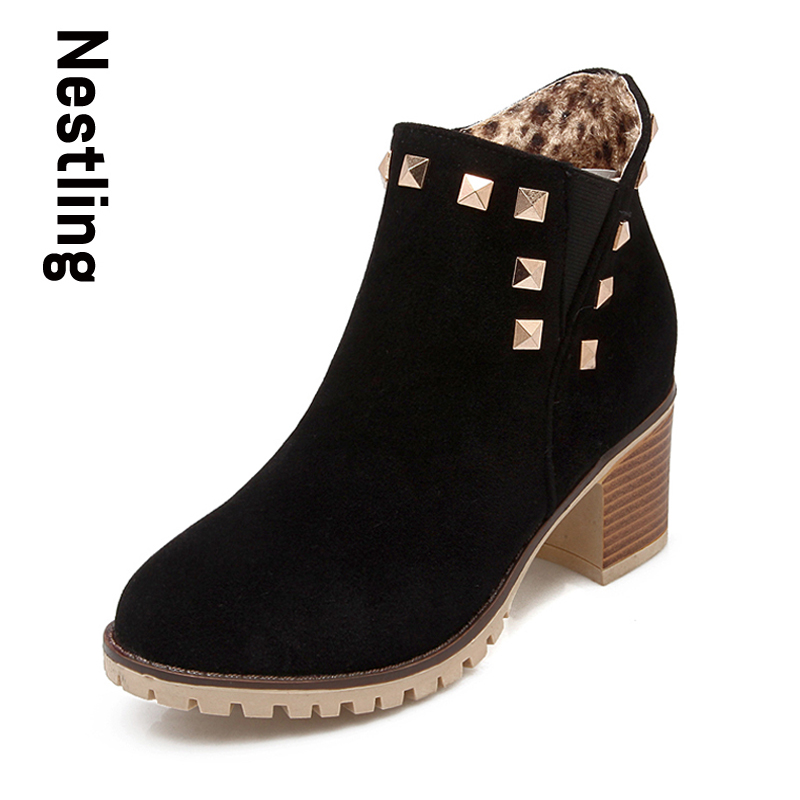 New 2016 Fashion women Autumn Motorcycle Boots High Heels Leather Ankle Boots Round Toe Rivets Martin Boots ladies shoes <br>