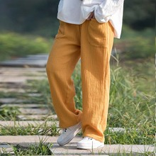 Casual Straight Pants Women, Spring Summer&Autumn Trousers With pockets,plus size M-6XL comfortable soft cotton linen pants(China)
