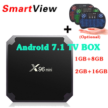 X96 mini Android 7.1 Smart TV BOX 1GB/8GB 2GB/16GB Amlogic S905W Quad Core H.265 4K 2.4GHz WiFi IPTV Box Set Top Box X96MiNi(China)
