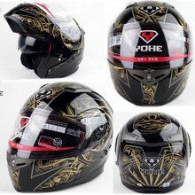 doublelens helmet ,undrape face black gold totem YOHE 953  motorcycle Motorbike ABS shell, Lining can unpick and wash