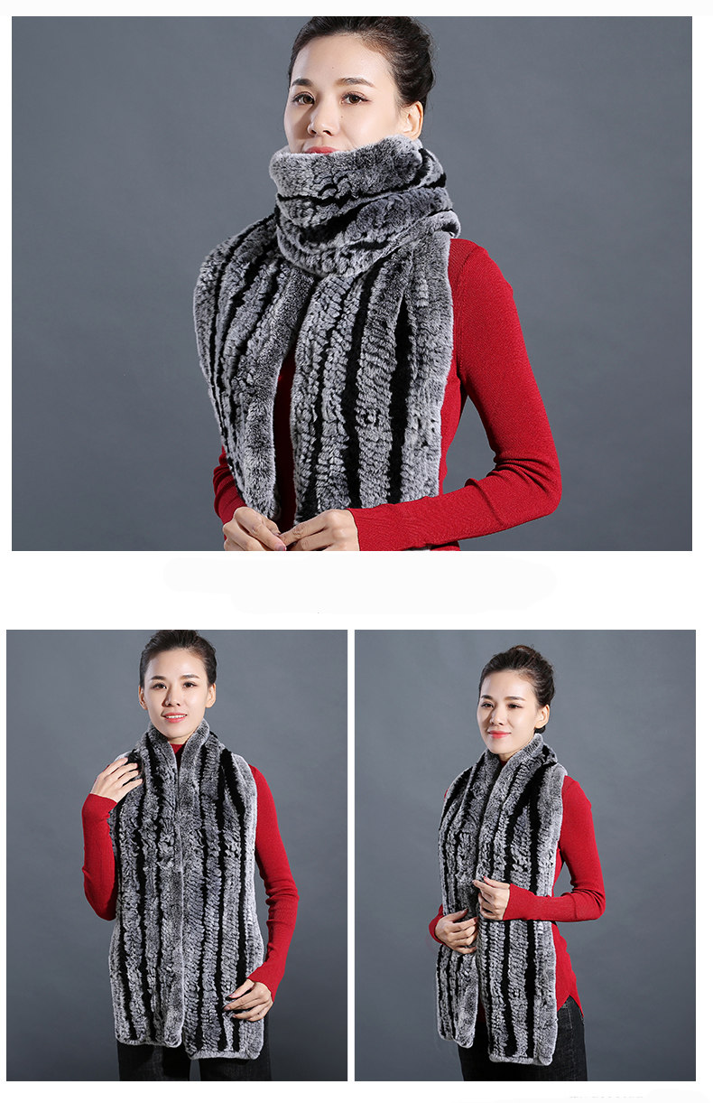 100% Real Rex Rabbit Fur Scarves Wraps For Women Winter Handmade 2018 New Fashion Long Natural Fur Scarf   (11)