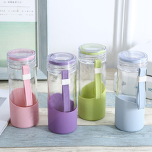 Creative straight glass water bottle 450ml,large capacity business office cup gift advertising jar,Sports bottle Christmas gift