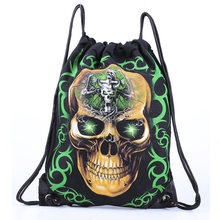 Skull Skeleton Gym Bags New Swimming And Sports Drawstring Bags European Men And Women Beach Backpack Shoes Swimming Bag(China)