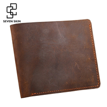 100% Genuine Leather Wallet Men Purses Crazy Horse Wallets Vintage Design Leather Wallet Carteira Masculina Money Card Holders
