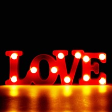 Romantic LED 3D Lamp Small Red LOVE Marquee Night Lights Lighting Home Bedroom Wedding Decoration Valentine Girl Friend Gift