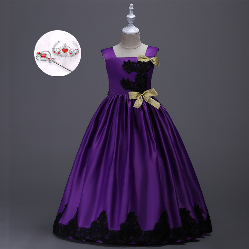 Princess Red Purple Yellow Satin Ball Gowns Flower Girl Evening Party Prom Dresses Girls Kids Size 12 Children Wedding Dresses<br>