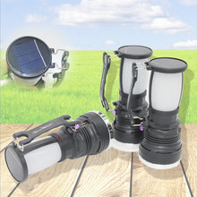 High-power Solar charging Portable lamp 1W+24SMD outdoor camping flashlight portable lantern USB Power bank torchlight