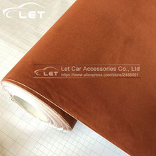 Brown Black Red Velvet Fabric Velvet Film Suede Film Car Sticker With Bubble Car Interior Sticker Car Body Decoration(China)