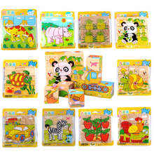 9pcs/set Cute 3D Animal Wooden Puzzle Hexahedron Animal Picture Jigsaw Puzzle Education Learning Tools Toys Baby Wood Cube Toys(China)