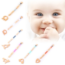 Buy Baby Nipple Clip Soft Silicone Wood Bead Teether Pacifier Animal Infant Soother for $3.39 in AliExpress store