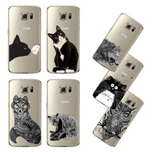 Ultra Thin Transparent Soft Black White Cat Owl Eagle Cell Phone Back Cover For Samsung Galaxy S5 S6 S6Edge S7 S7edge Back Case(China)