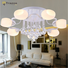 European modern style Ceiling Lights  fashionable design K9 crystal ball pendente de teto de cristal acrylic shade lampara