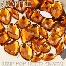 100Pcs/Lot Mix Sizes Shapes Coffee Big Rhinestones Acrylic Resin Non Hotfix Flat back Crystals for Wedding dress 3D Nail Stone