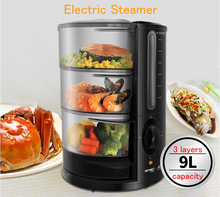 Multifunction Electric Steamer 3 Layers Food Steamer 9L Household Fish/Meat/Egg Steamer JET-901(China)