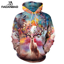 NADANBAO New Hiphop Hoodies Fashion Style Colorful Clouds 3D Printed Animal Sika Deer Women Hooded Sweatshirts(China)