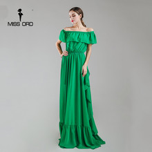 Missord 2017 Sexy ruffles strapless fold maxi dress party dress FT4984-2(China)