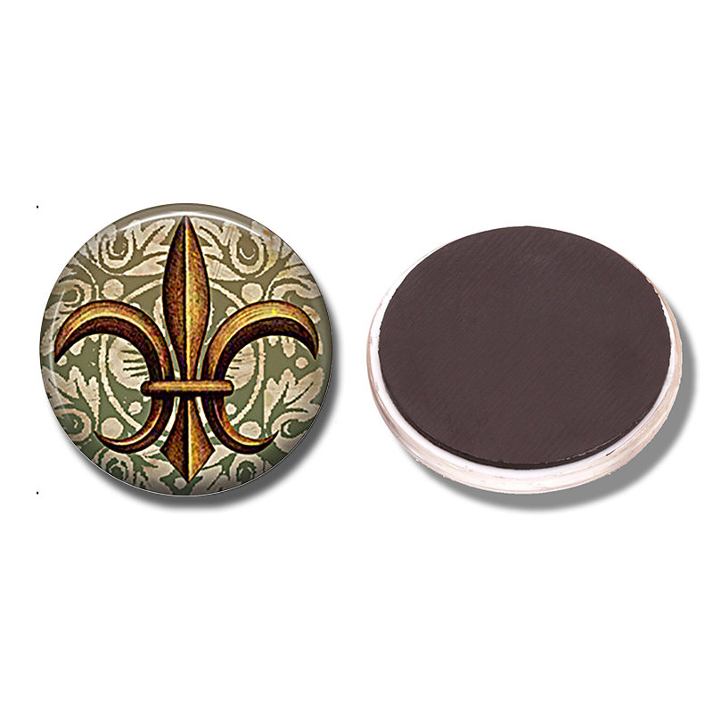 Antique Gold Fleur De Lis 30 MM Fridge Magnet New Orleans Glass Cabochon Magnetic Refrigerator Stickers Note Holder Home Decor(China (Mainland))