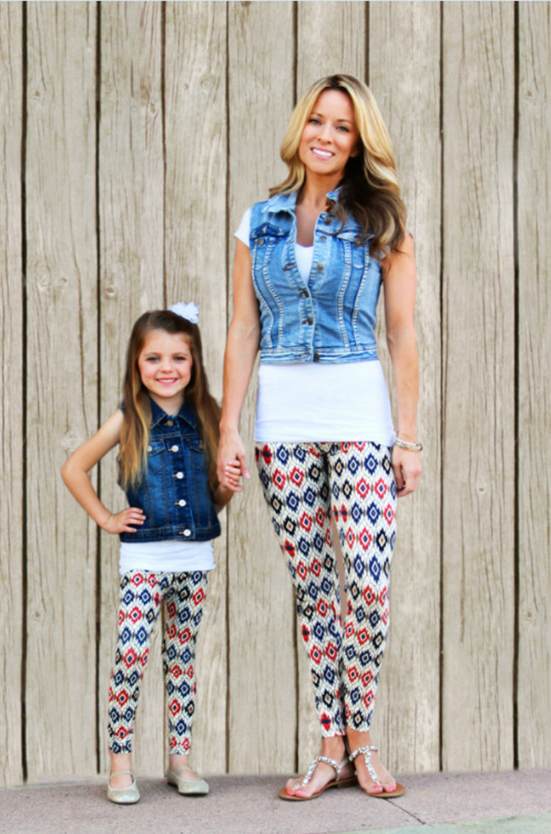 Matching Mother And Daughter Clothes Family Look Matching Pants Outfits Mommy And Me Kids Girls Women Leggings Suit Clothing (15)