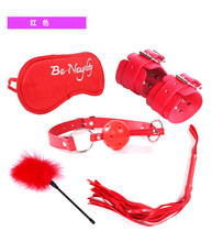 Buy 5pcs Exotic Accessories Sex Toys Couples Fetish Mask + Mouth Gag + Whip + Hand Cuffs Pu Leather Bdsm Bondage Restraints Red
