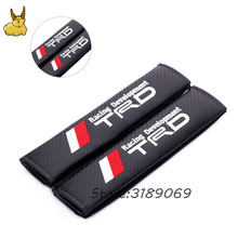 1Pair Black Checker Car Seat Belt Shoulder Pads Cover Car Seat belt shoulder Pad For Toyota TRD Logo HighLander Yaris RAV4 Crown(China)
